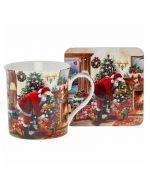 Santa & Christmas Tree Mug & Coaster Set The Leonardo Collection